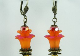 boucles d'oreille orange, vieil or, jaune