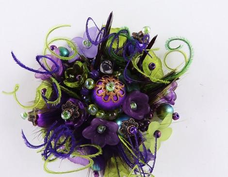 bague plumes violet vert