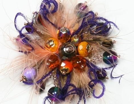 bague plumes orange, violet