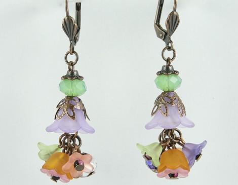 boucles d'oreilles romantiques bijoux été bijoux mode bijoux romantiques bijoux fleur