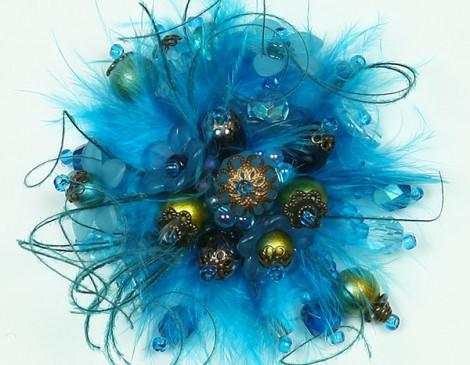 bague plumes, bagues fantaisie, bague été, bague bleue, bague romantique