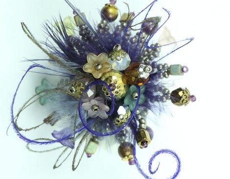 bague plumes bronze violet