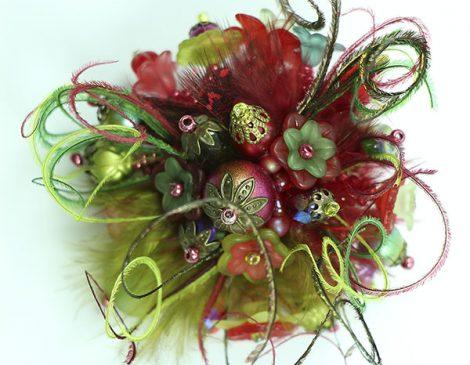 bague plumes vert rouge