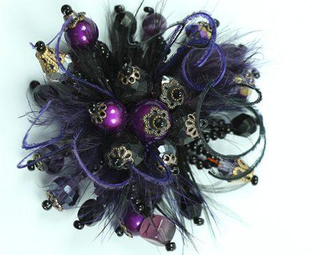 bague plumes noir violet