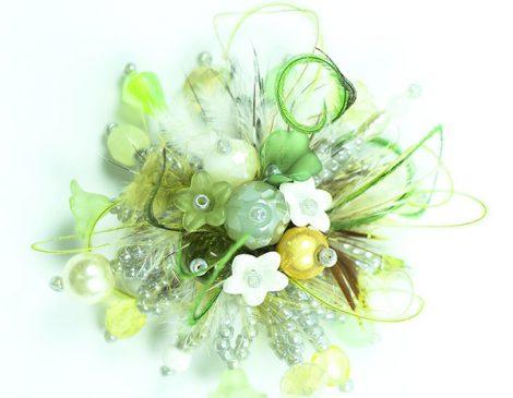 bague plumes vert menthe