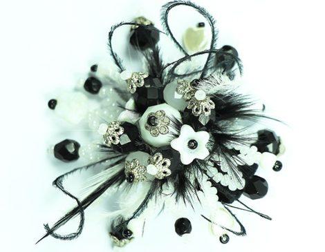 bague plumes noir blanc