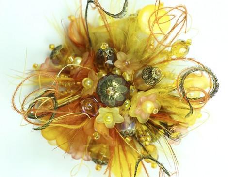 bague plumes jaune or