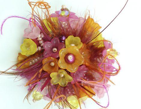bague plumes fleurs