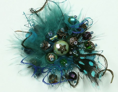bague plumes turquoise